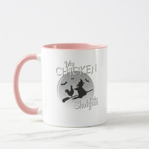 My Chicken Rides Shotgun Halloween Pet Gifts Mug