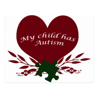 my child has autism post card