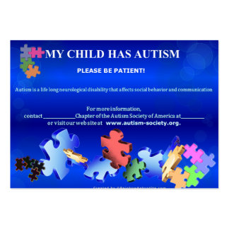 MY CHILD HAS AUTISMBusiness Card Large Business Cards (Pack Of 100)