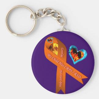 My Child Has CRPS/RSD Fire & Ice Heart Mystery Key Basic Round Button Keychain