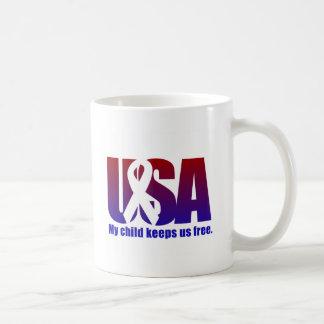 My child keeps us free USA Blue Red Mug