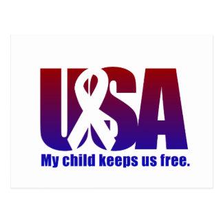 My child keeps us free. USA Blue Red Postcard