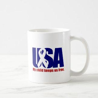 My child keeps us free. USA Red White blue Coffee Mug