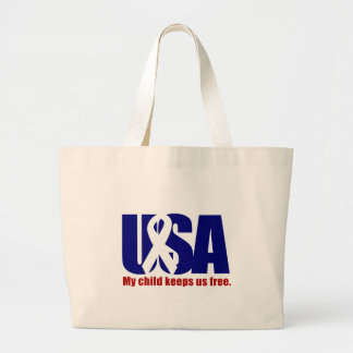My child keeps us free. USA Red White blue Large Tote Bag