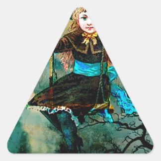 MY CHILDHOOD SWING AWAITS 3.jpg Triangle Sticker