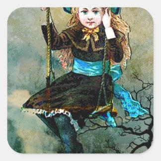MY CHILDHOOD SWING AWAITS 3.jpg Square Sticker