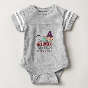 Halloween Themed My Children Are Monsters Halloween Design Baby Bodysuit