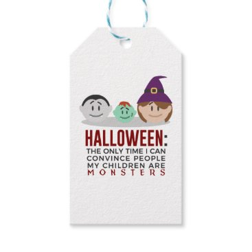 My Children Are Monsters Halloween Design Gift Tags
