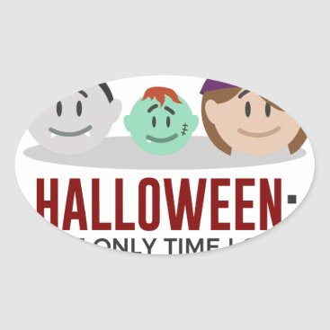 Halloween Themed My Children Are Monsters Halloween Design Oval Sticker