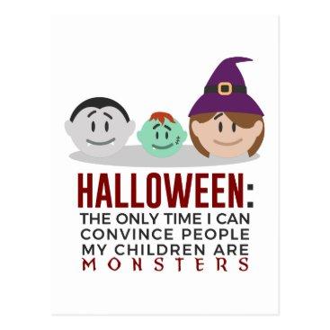 Halloween Themed My Children Are Monsters Halloween Design Postcard