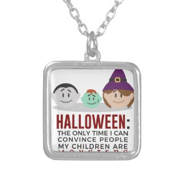 Halloween Themed My Children Are Monsters Halloween Design Silver Plated Necklace
