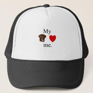My chocolate lab loves me trucker hat