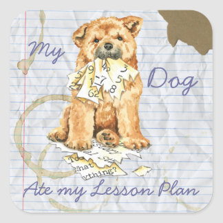 My Chow Chow Ate My Lesson Plan Square Sticker
