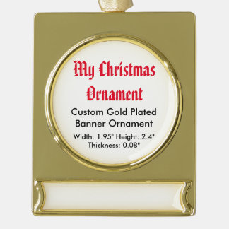 My Christmas Custom Gold Plated Banner Ornament