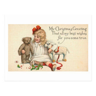 MY Christmas Greeting Child with Teddy Bear Postcards