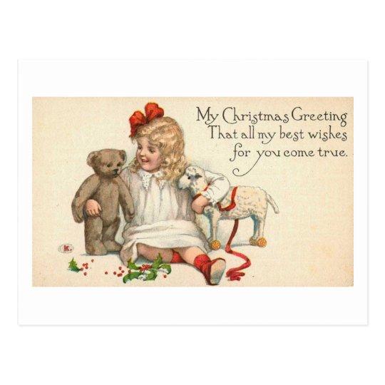 MY Christmas Greeting Child with Teddy Bear Postcard