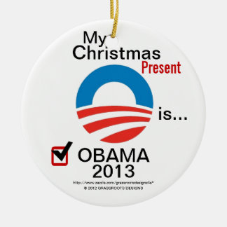 My Christmas Present is Obama 2013 - #5 Obama Logo Double-Sided Ceramic Round Christmas Ornament