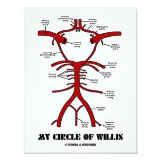 "My Circle Of Willis (Arteries Anatomical Humor) 4.25"" X 5.5"" Invitation Card"