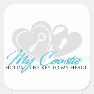 My coastie holds the key square sticker
