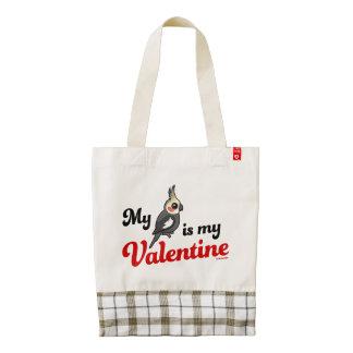 My Cockatiel Is My Valentine Zazzle HEART Tote Bag