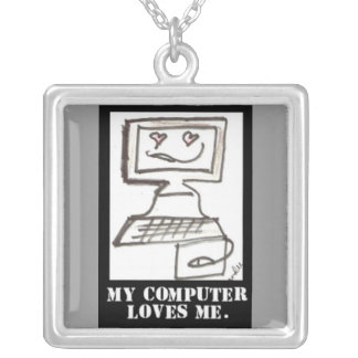 My computer Loves me Square Pendant Necklace