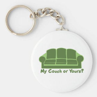 My Couch or Yours? Basic Round Button Keychain
