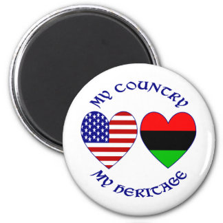 My Country My African-American Heritage 2 Inch Round Magnet