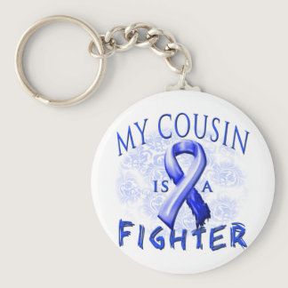 My Cousin Is A Fighter Blue Keychain