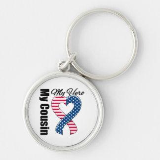 My Cousin My Hero Patriotic USA Ribbon Keychain