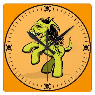 My Creepy Little Pony (Yellow) Square Wallclocks