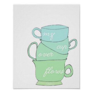 my cup overflows - psalm 23 - hand drawn mugs poster