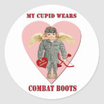 My Cupid Wears Combat Boots Round Stickers