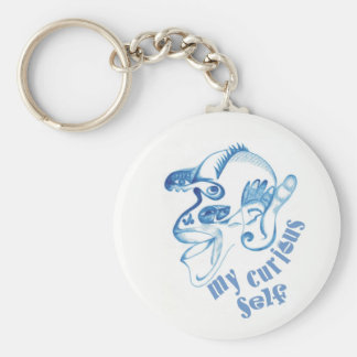 My curious self basic round button keychain
