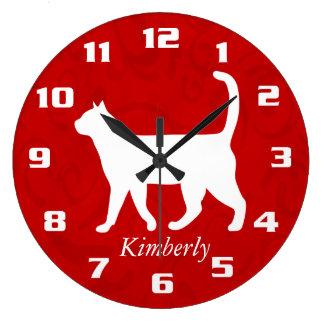 My Cute Cat Custom Add name Monogram Pet Large Clock
