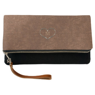 My Cute Gold Heart Monogrammed Copper Look Clutch