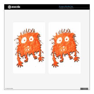 My Cute Orange Scribble Monster Kindle Fire Skin