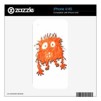 My Cute Orange Scribble Monster Skins For iPhone 4