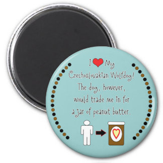 My Czechoslovakian Wolfdog Loves Peanut Butter 2 Inch Round Magnet