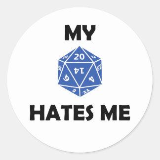 My D20 Hates Me 2RB Classic Round Sticker