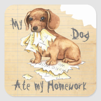 My Dachshund Ate My Homework Square Sticker