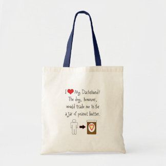 My Dachshund Loves Peanut Butter Tote Bag