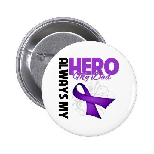 My Dad Always My Hero - Purple Ribbon 2 Inch Round Button