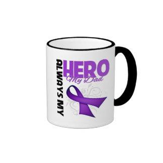 My Dad Always My Hero - Purple Ribbon Ringer Coffee Mug