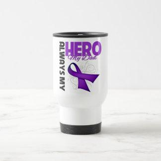 My Dad Always My Hero - Purple Ribbon 15 Oz Stainless Steel Travel Mug