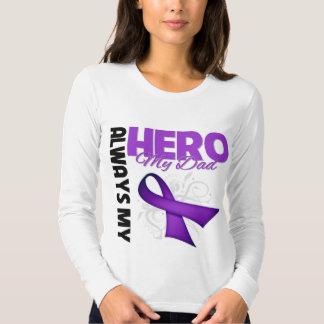 My Dad Always My Hero - Purple Ribbon T Shirt