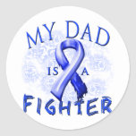 My Dad Is A Fighter Blue Classic Round Sticker