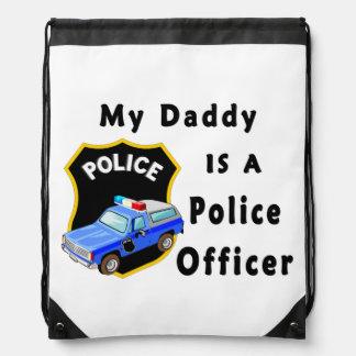 My Dad Is A Police Officer Drawstring Backpack