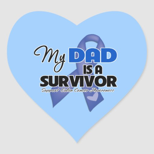 My Dad is a Survivor - Colon Cancer Heart Sticker