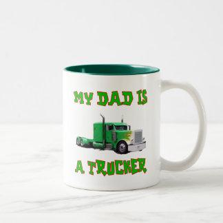 My Dad Is A Trucker Two-Tone Coffee Mug