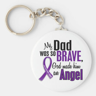 My Dad Is An Angel Pancreatic Cancer Basic Round Button Keychain